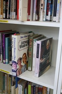Image of the bookshelves at Jessie Street National Women's Library